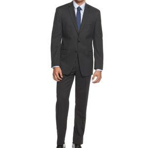 Calvin Klein Men's Black Stripe Wool Slim Fit Suit